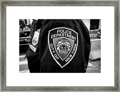 nypd police officer badge and crest New York City USA Framed Print