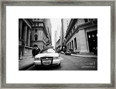 Nypd Police Patrol Car Parked In Wall Street Downtown New York City Framed Print by Joe Fox