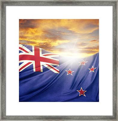 Nz Flag  Framed Print by Les Cunliffe