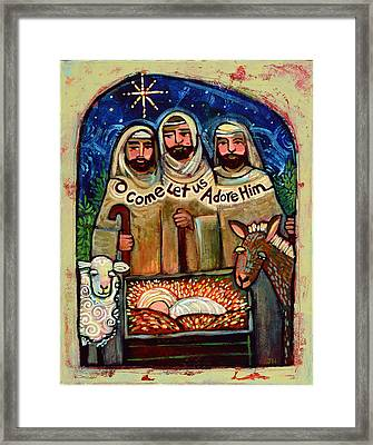 O Come Let Us Adore Him Shepherds Framed Print by Jen Norton