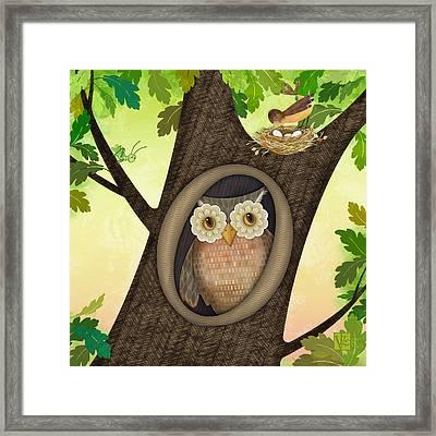 O Is For Owl Framed Print by Valerie Drake Lesiak
