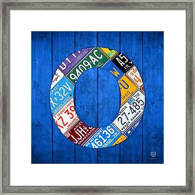 O License Plate Letter Art Blue Background Framed Print
