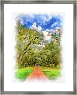 Oak Alley 7 - Paint Vignette Framed Print