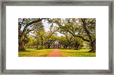 Oak Alley Path - Paint Framed Print by Steve Harrington