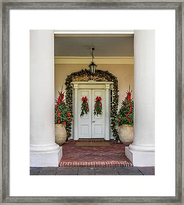 Framed Print featuring the photograph Oak Alley Plantation Doors by Paul Freidlund