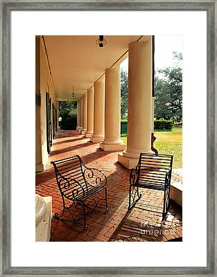 Oak Alley Porch Framed Print by Perry Webster