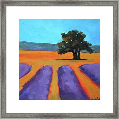 Oak And Lavender Framed Print by Nancy Merkle