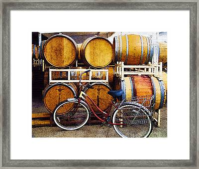 Oak Barrels And Bicycle Framed Print