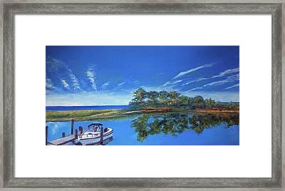 Oak Bluffs With Grady White Framed Print
