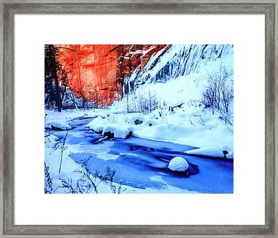 Oak Creek In Winter Framed Print