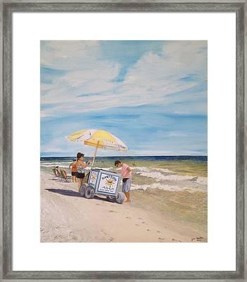 Oak Island Beach Scene Framed Print by John Schuller