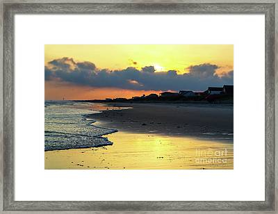 Oak Island Yellow Sunset Framed Print