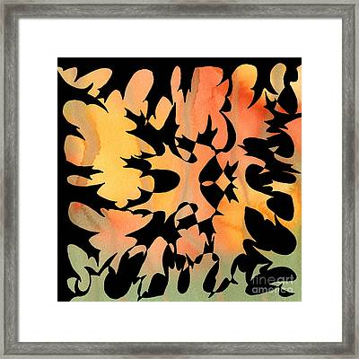 Oak Leaf Abstract Ink And Watercolor Square Design Framed Print