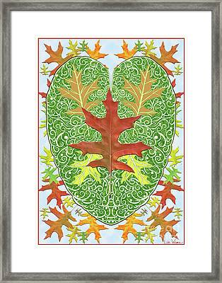 Oak Leaf In A Heart Framed Print by Lise Winne