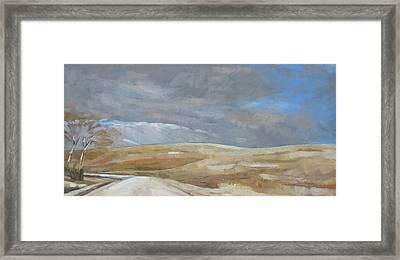Oak Savanna, Fall Storm Framed Print