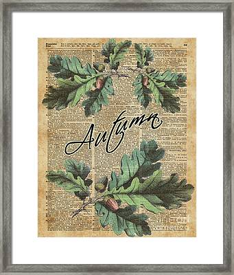 Oak Tree Leaves And Acorns, Autumn Dictionary Art Framed Print by Jacob Kuch