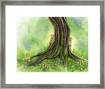 Oak Tree Sprites Framed Print by Antony Galbraith