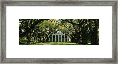 Oak Trees In Front Of A Mansion, Oak Framed Print by Panoramic Images