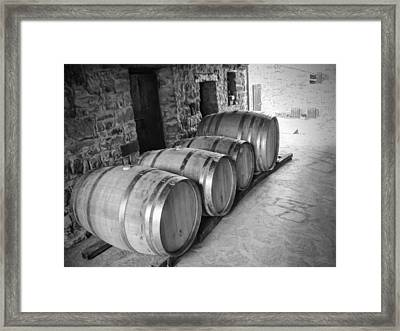 Oaking Wine Black And White Framed Print by Phyllis Taylor