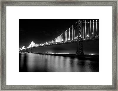 Framed Print featuring the photograph Oakland Bay Bridge At Night by Darcy Michaelchuk