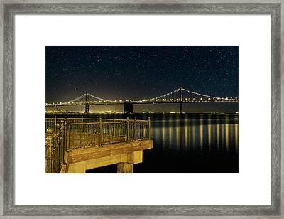 Oakland Bay Bridge By The Pier In San Francisco At Night Framed Print