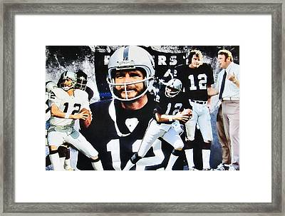 Oakland Raiders #12 Quarterback Kenny Stabler And Head Coach John Madden Framed Print by Donna Wilson
