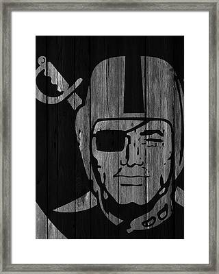 Oakland Raiders Wood Fence Framed Print