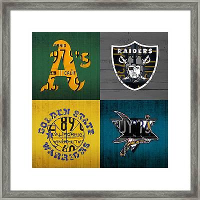 Oakland Sports Fan Recycled Vintage California License Plate Art Athletics Raiders Warriors Sharks Framed Print