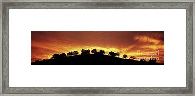 Framed Print featuring the photograph Oaks On Hill At Sunset by Jim and Emily Bush