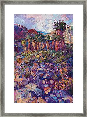 Framed Print featuring the painting Oasis Boulders by Erin Hanson