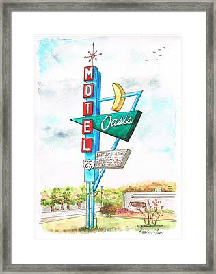 Oasis Motel In Route 66, Tulsa, Texas Framed Print