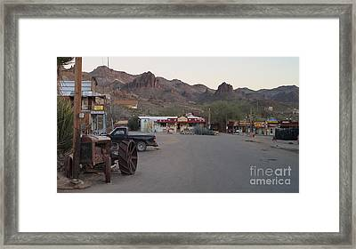 Oatman Western Willage Landscape With An Old Iron Ford Tractor Framed Print