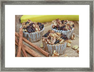 Oatmeal Walnut Muffins Framed Print by Sandy Potere