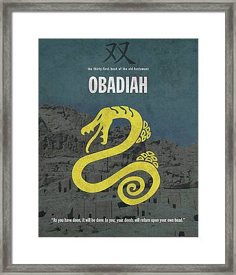 Obadiah Books Of The Bible Series Old Testament Minimal Poster Art Number 31 Framed Print