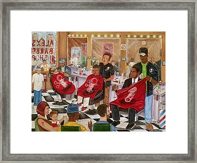 Obama At The Barber Framed Print by Mccormick  Arts