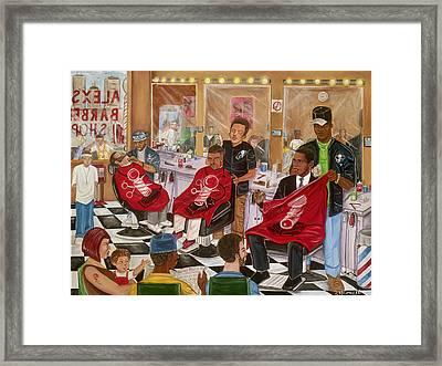 Obama At The Barber Framed Print
