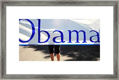 Obama Banner. Framed Print