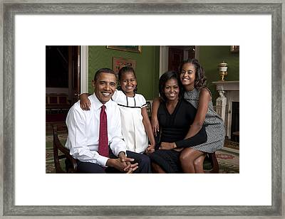 Obama Family Official Portrait By Annie Framed Print