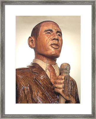 Obama In A Red Oak Log - Up Close Framed Print by Robert Crowell