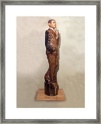 Obama In A Red Oak Log Framed Print by Robert Crowell