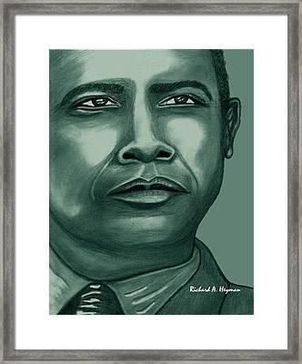 Obama In Bronze Framed Print by Richard Heyman