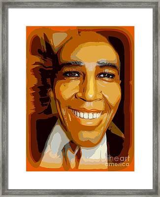 Obama In Orange Framed Print