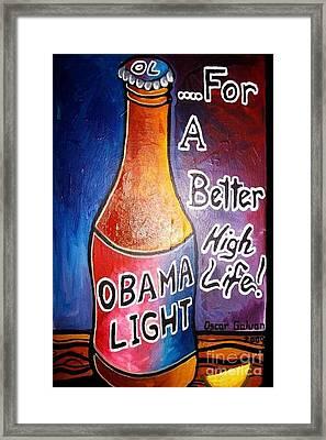 Obama Light Framed Print by Oscar Galvan