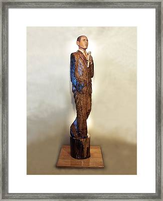 Obama On The Stump Framed Print by Robert Crowell