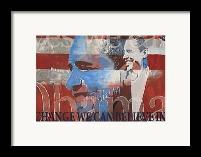 Obama Mixed Media Framed Prints
