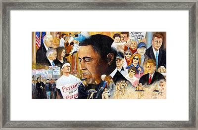 Obama's Full Plate Framed Print by Leonardo Ruggieri