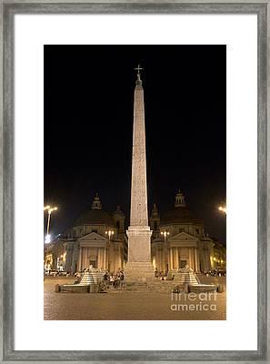 Obelisco Flaminio And Twin Churches By Night Framed Print by Fabrizio Ruggeri