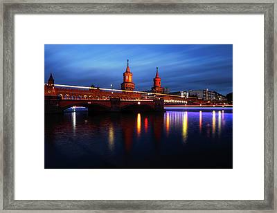Oberbaum Bridge At Sunset Framed Print