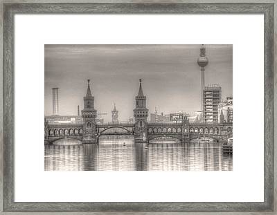 Oberbaumbrucker Reflection Framed Print by Nathan Wright