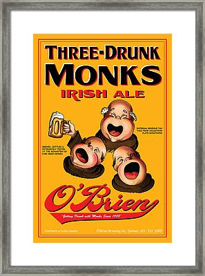 O'brien Three Drunk Monks Framed Print by John OBrien